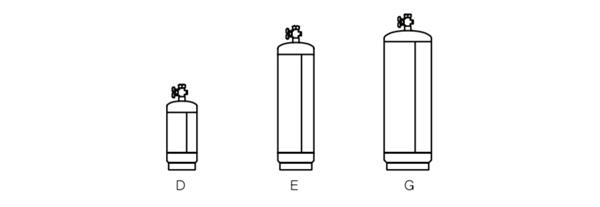 Acetylene Cylinders sizes diagram image