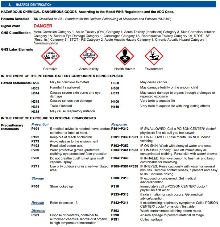 SDS for Lead Acid Battery
