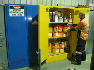 Staff using Flammable Cabinet