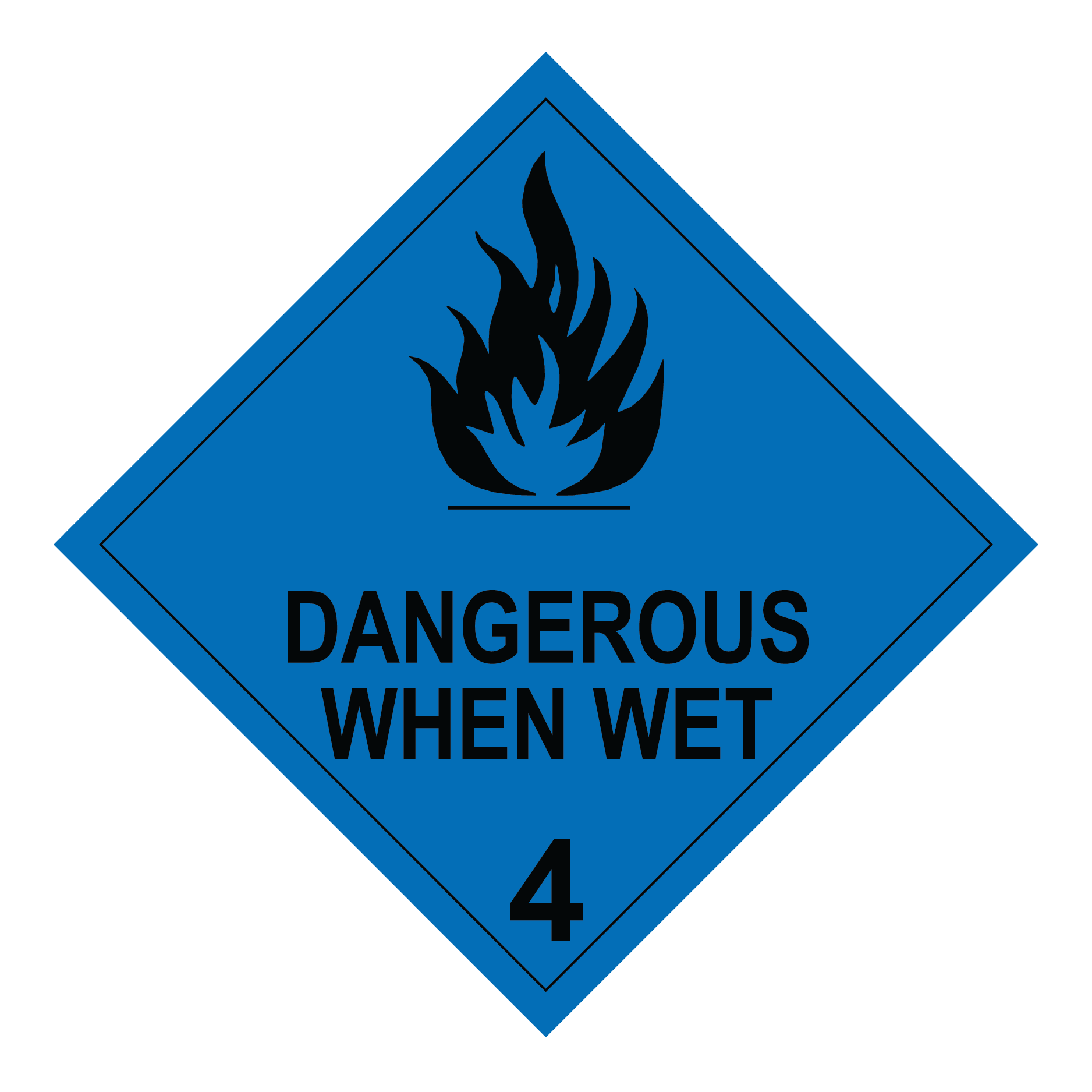 class 4.3 dangerous when wet sign