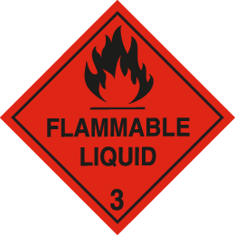 Class 3 flammable liquids sign