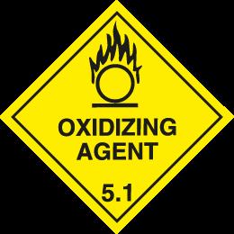 Class 5.1 oxidising agent sign