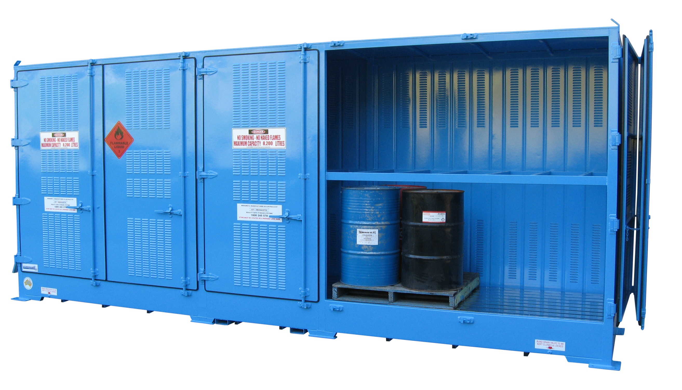 Petrol chemical storage container