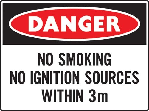 No smoking no ignition source within 3 meters