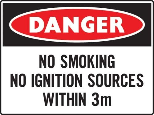 No smoking no ignition source within 3 meters - Flammable cabinet sign