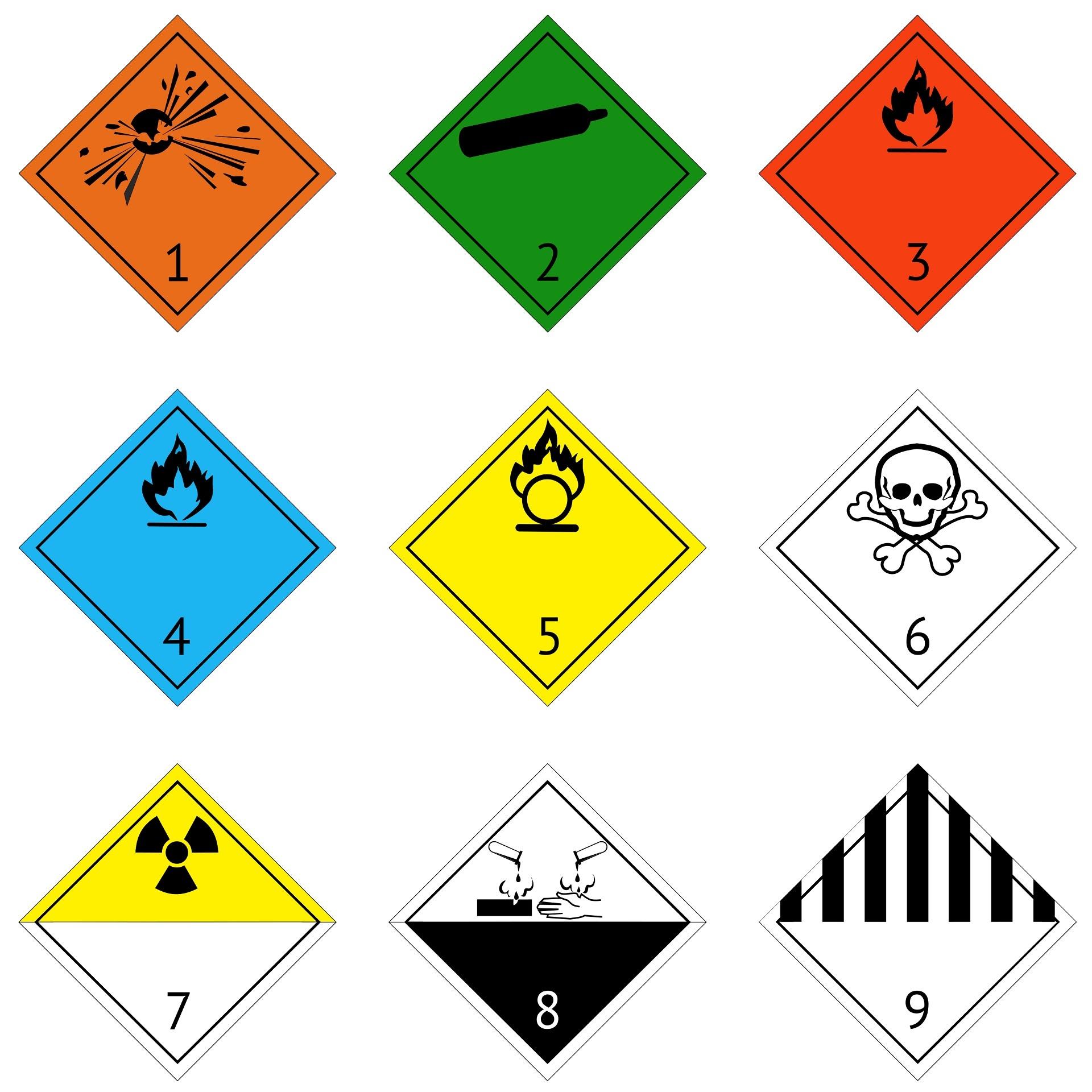 The 9 classes of dangerous goods