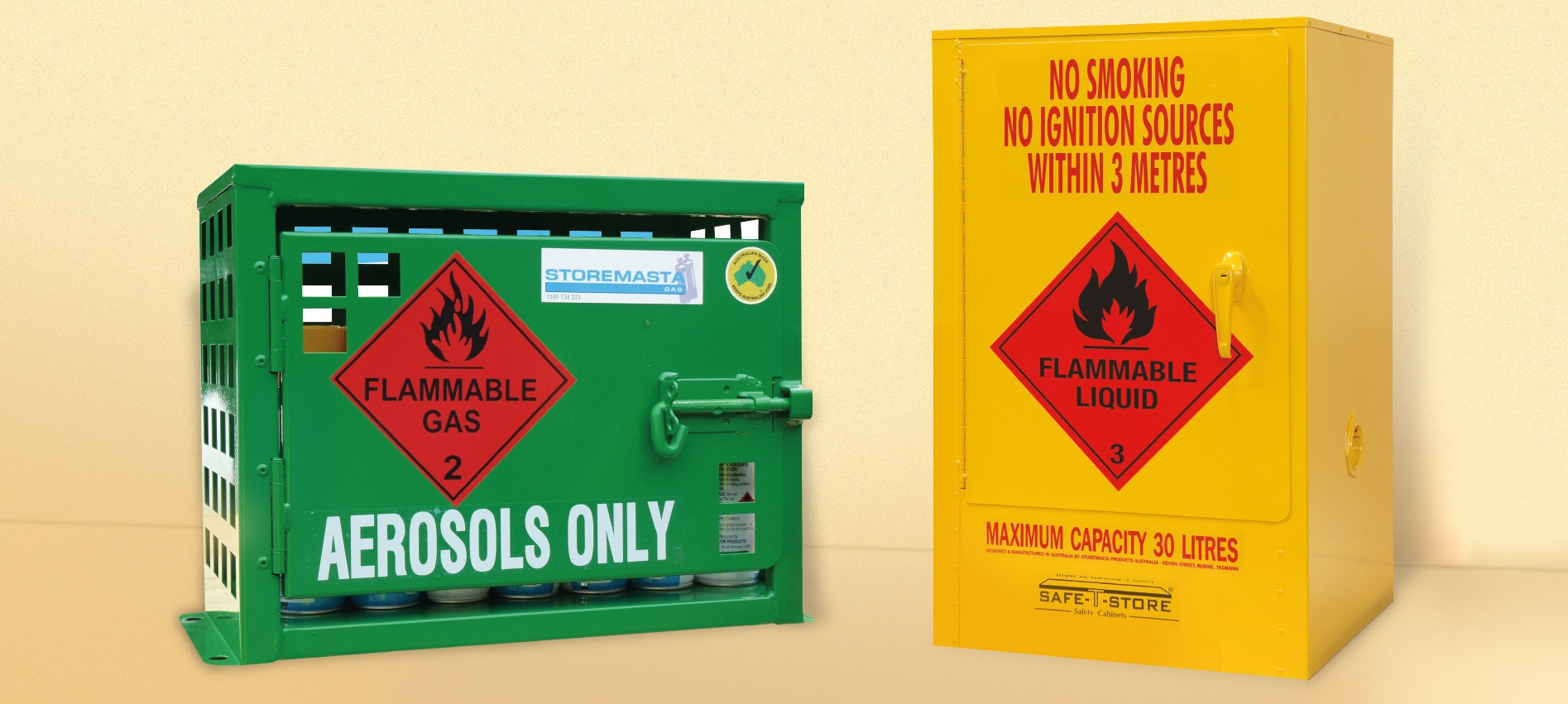 Storing Aerosols Correctly: aerosol cages vs flammable liquids cabinets
