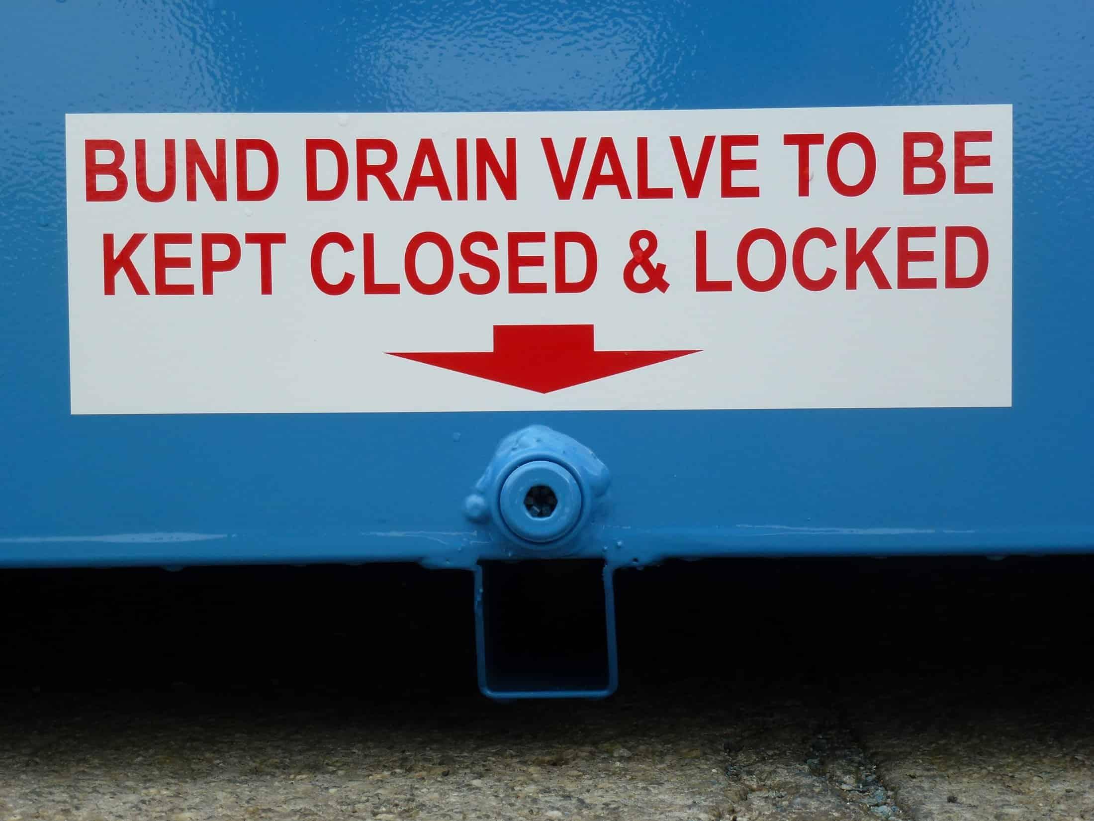 STOREMASTA Outdoor Class 3 Dangerous Goods Store Bund Spill Containment Sump Valve